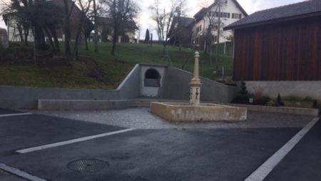 Travaux traversée et place du village de Mormont
